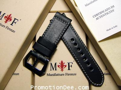 F6-212 26/24 120/75 Black calf leather strap with Polished buckle (white stitch)