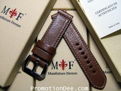 �F2-231 24/24 130/85 Hammered brown calf leather strap with buckle (white stitch)