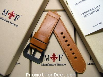 F2-1942 24/24 120/75 Aged calf leather strap 1942 with Polished buckle (light brown stitch)