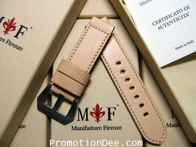F5-WW2 22/22 120/75 WWII Natural calf leather strap with Brushed buckle (white stitch)