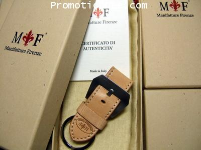 K1-WW2 Keychain Natural calf leather Keyholder (white stitch)