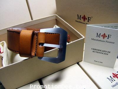B2-222-T Light brown calf leather belt (brown stitch)