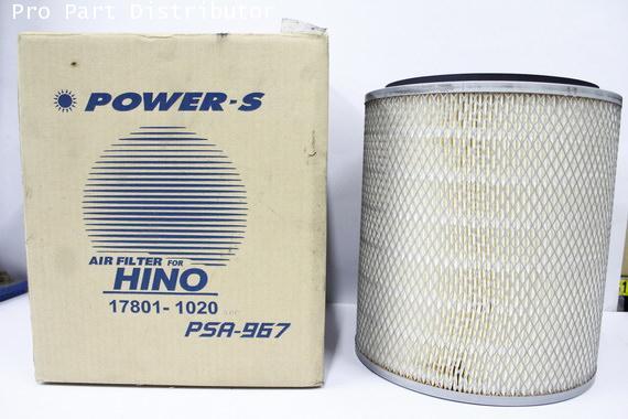 ไส้กรองอากาศ POWER-S สำหรับ รถบรรทุก ฮีโน่ HINO ZM ไม่มีใบพัด (17801-1020)อะไหล่แท้ (รหัส PSA-967-S)
