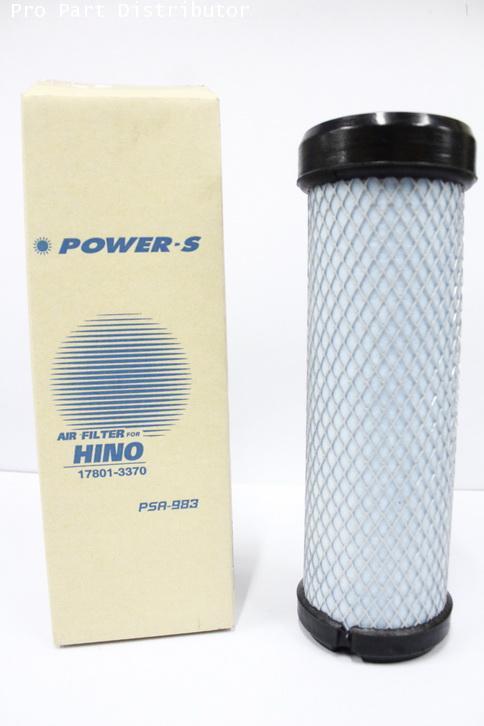 ไส้กรองอากาศ POWER-S สำหรับ รถบรรทุก ฮีโน่ HINO MEGA 6 ล้อ(17801-3370)ลูกใน อะไหล่แท้(รหัสPSA-983-S)