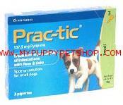 Prac-Tic (Small dog) สุนัข 4.5 - 11 กก. ยาหยดกำจัด เห็บหมัด ไข่ ตัวอ่อน ได้ผลดีสุด (3 หลอด)