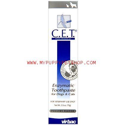C.E.T ยาสีฟันป้องคราบหินปูน ป้องกันฟันผุ กลิ่นปาก สำหรับสุนัขและแมว (รสไก่) 70 g. Exp: 2021