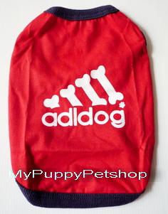 +หมดค่ะ+ เสื้อสุนัขและแมว AddiDog สีแดง โลโก้ใหม่มี Glitter น่ารัก (เบอร์ 8)