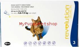Revolution Cat (แมวโต) หนัก 2.6-7.5 กก. ยาหยดป้องกันไร เห็บหมัด พยาธิหนอนหัวใจ (3 หลอด) EXP:09/2022