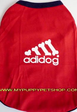+++หมดค่ะ+++เสื้อสุนัขและแมว AddiDog สีแดง โลโก้ใหม่มี Glitter น่ารัก (เบอร์ 10)