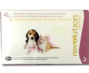 Revolution สุนัข-แมว 0-2.5 กก. (ชมพู) ยาหยดกำจัดเห็บหมัด ไร กันพยาธิหนอนหัวใจ (3 หลอด) EXP:5/2021