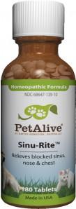 หมด PetAlive Sinu-Rite รักษาไซนัสอักเสบ ระบบทางเดินหายใจ ไอจาม น้ำมูกไหล แน่นจมูก สุนัข-แมว 180 เม็ด