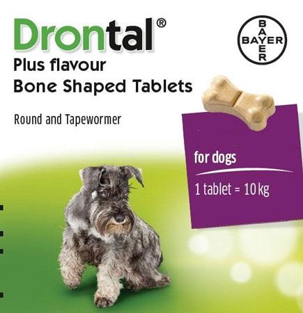 Drontal Plus Flavour (รูปกระดูก) ดรอนทัลพลัส ยาถ่ายพยาธิรวม สำหรับสุนัขโตและลูกสุนัข (2 เม็ด)