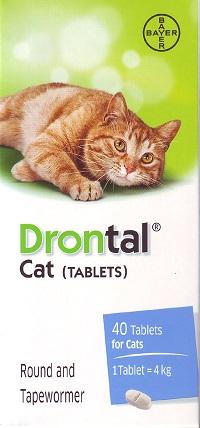 Drontal Cat Tablets ดรอนทัล ยาถ่ายพยาธิรวม สำหรับแมวโดยเฉพาะ (1 เม็ด) EXP: 09/2023
