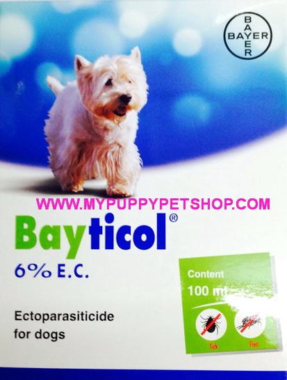 Bayticol ไบติคอลควบคุมและกำจัด เห็บ หมัด เหา ไร ของสุนัข (ขวดใหญ่) 100 ml