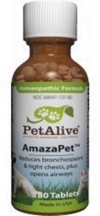 หมด PetAlive AmazaPet บรรเทาอาการหืดหอบ ไอ หายใจไม่สะดวก เสริมระบบทางเดินหายใจ  USA (180 เม็ด)