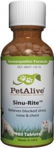 PetAlive Pet Sinu-Rite รักษาไซนัสอักเสบ ระบบทางเดินหายใจ ไอจาม น้ำมูกไหล แน่นจมูก  แบ่ง 50 เม็ด