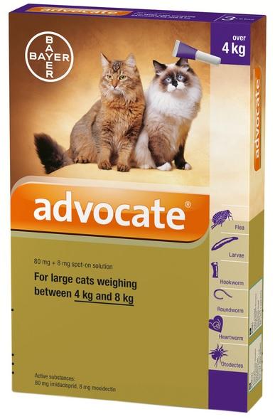 Advocate Large CAT 4-8 กก. ยาหยดแมว กำจัดหมัด ไรหู รักษาขี้เรื้อน กันพยาธิหัวใจ  EXP:05/21
