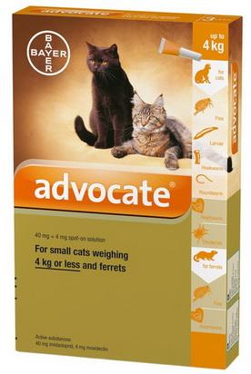 Advocate Small CAT 0-4 กก. ยาหยดแมว กำจัดหมัด ไรหู รักษาขี้เรื้อน กันพยาธิหัวใจ
