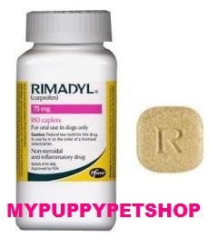 RIMADYL 75 mg ไรมาดิล แก้อักเสบ แก้ปวด ชนิดไม่มีสเตียรอยด์ 60 เม็ด  EXP 04/2022
