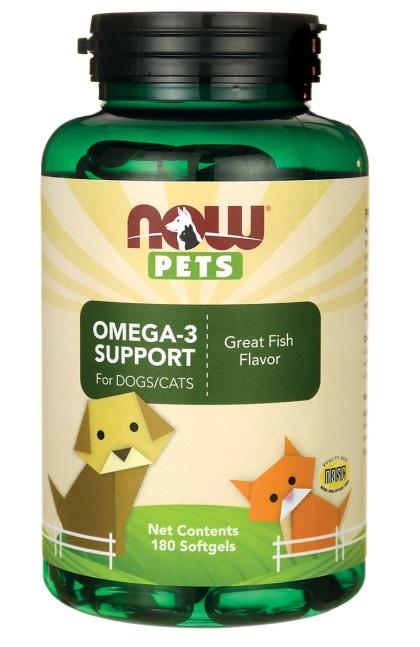 NOW Pets Omega-3 Support  นำมันปลา บำรุงสมอง ขน ผิวหนัง หัวใจ ข้อต่อ สุนัข-แมว USA (180 เม็ด)