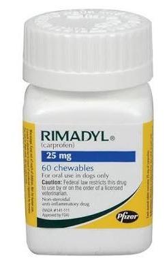 RIMADYL 25 mg ไรมาดิล แก้อักเสบ แก้ปวดชนิดไม่มีสเตียรอยด์ 60 เม็ด EXP 05/2022