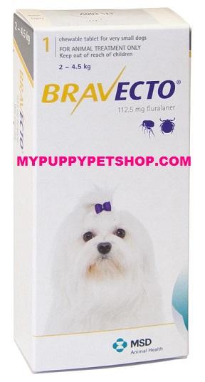 Bravecto สุนัขหนัก 2-4.5 กก ยากินกำจัดเห็บหมัด ไรขี้เรื้อน ไรหู กันได้3เดือน (1 เม็ด) EXP:02/2021