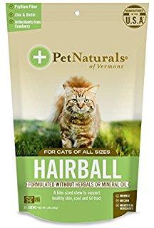 Pet Naturals HAIRBALL Cats วิตามินกำจัดและป้องกันก้อน hairball แมว แบบนิ่มเหมือนขนม USA 30 ชิ้น