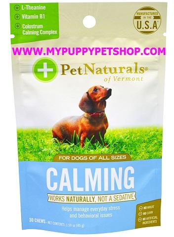 Pet Naturals CALMING DOG ช่วยลดภาวเครียดในสุนัข ตื่นตระหนก พบแพทย์ เดินทาง อยู่ลำพัง USA 30 ชิ้น
