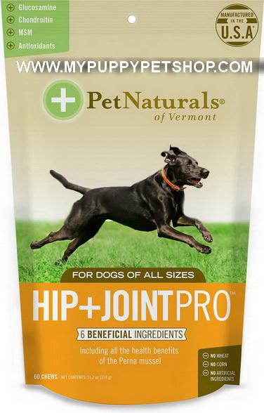 Pet Naturals HIP+JOINT PRO รักษาข้อเสื่อม ข้อหลุดหลวม เดินขากระเผก เสริมน้ำในข้อ USA 60 ชิ้น