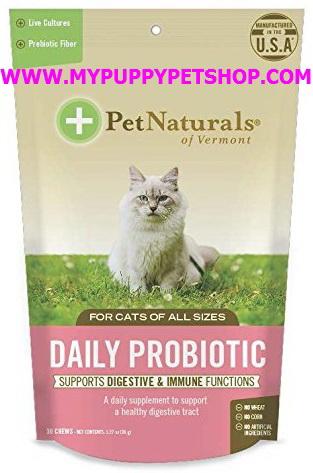 Pet Naturals Probiotic CAT เสริมระบบทางเดินอาหาร ขับถ่าย แก้ท้องอืด บวม เสริมภูมิแมว USA 30 ชิ้น