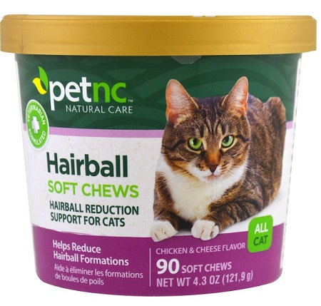 CAT Natural Hairball (รสไก่+ชีส) วิตามินกำจัดและป้องกันก้อน hairball แมว แบบขนม USA 90 ชิ้น