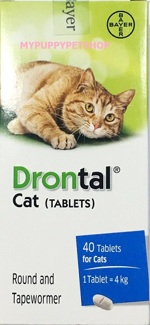 Drontal Cat Tablets ดรอนทัล ยาถ่ายพยาธิรวม สำหรับแมวโดยเฉพาะ (กล่อง 24 เม็ด) EXP: 09/2023