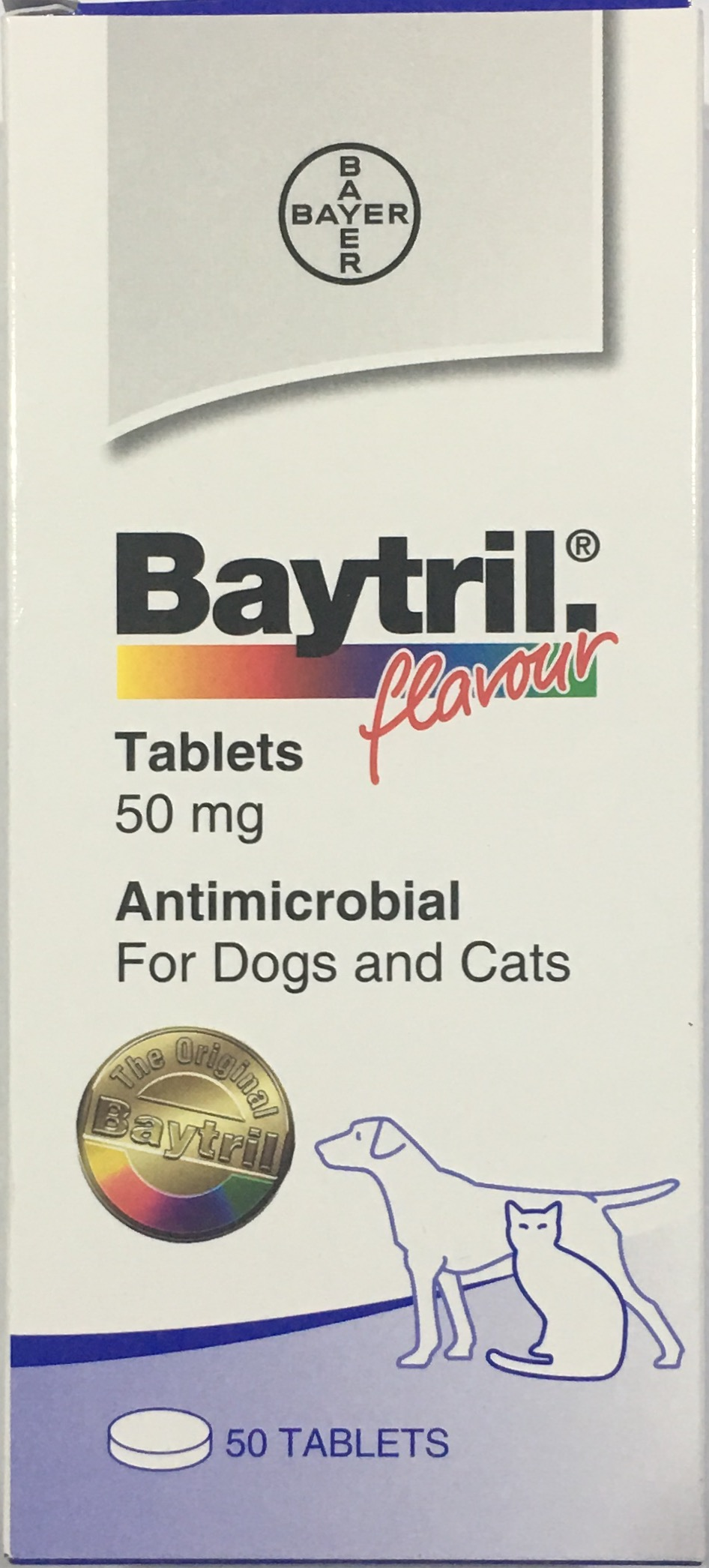 Baytril 50 mg. ไบทริลชนิดเม็ด สำหรับสุนัข-แมว รสเนื้อ  (ยกกล่อง 50 เม็ด) EXP: 2023