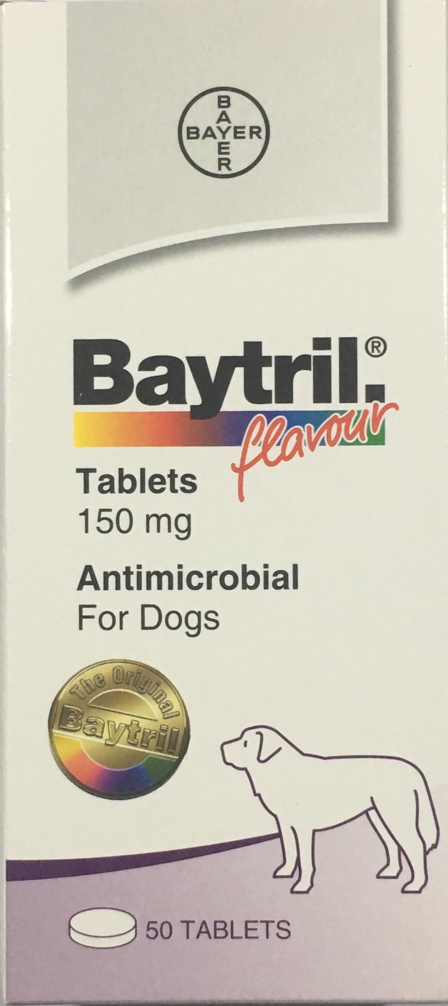 Baytril 150 mg. ไบทริลชนิดเม็ด สำหรับสุนัข  รสเนื้อ (ยกกล่อง 50 เม็ด) EXP: 11/2022