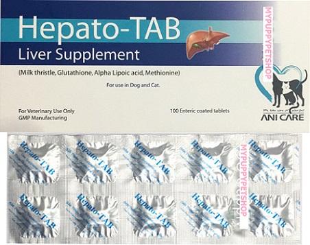 Hepato-Tab (Plus Vit C+B)วิตามินบำรุงตับสุนัขและแมว กำจัดสารพิษสะสมในตับ (กล่อง100 เม็ด) EXP:09/2021