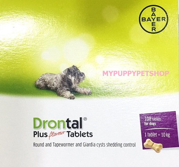 Drontal Plus Flavour (รูปกระดูก) ดรอนทัลพลัส ยาถ่ายพยาธิรวม สำหรับสุนัขโต-ลูกสุนัข (กล่อง 108 เม็ด)