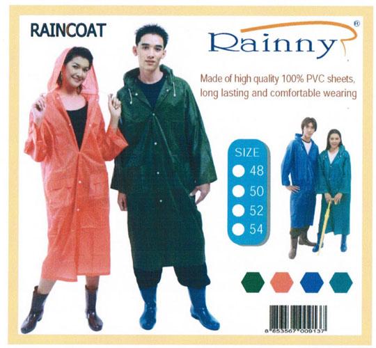 เสื้อกันฝนผู้ใหญ่ ผ้าโปร่ง แบบชุดโค้ทผ่าหน้า รุ่น 30-RG002