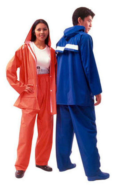 เสื้อกันฝนผู้ใหญ่ ชุดเสื้อและกางเกง ผ้า 2 หน้าอย่างดี สีส้มสะท้อน รุ่น 30-RG014