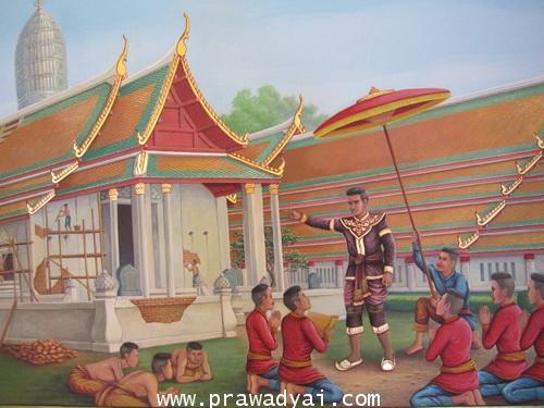 ภาพวาดตำนานสมเด็จพระนเรศวร ทรงทำนุบำรุงรักษาวัดพระพุทธชชินราช