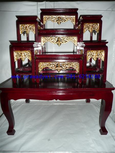 โต๊ะหมู่บูชา หมู่ 7 หน้า 6 ขาตรง กระจังทอง สีโอ๊ค (KT48K)