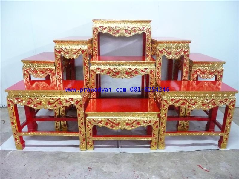 โต๊ะหมู่บูชา หมู่ 9 หน้า 10 ขาตรง แกะลาย ปิดทอง (TP11K)