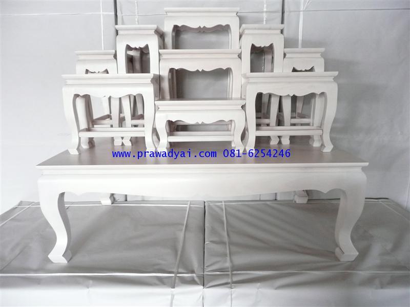 โต๊ะหมู่บูชา หมู่ 9 หน้า 6 ขาสิงห์ สีขาวงาช้าง (KT65K)