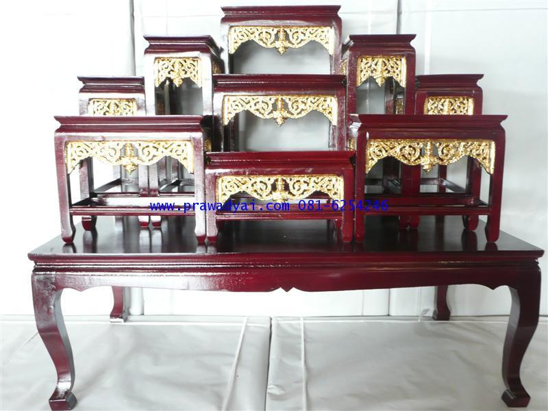 โต๊ะหมู่บูชา หมู่ 9 หน้า 6 ขาตรง กระจังทอง สีโอ๊ค (KT50K)