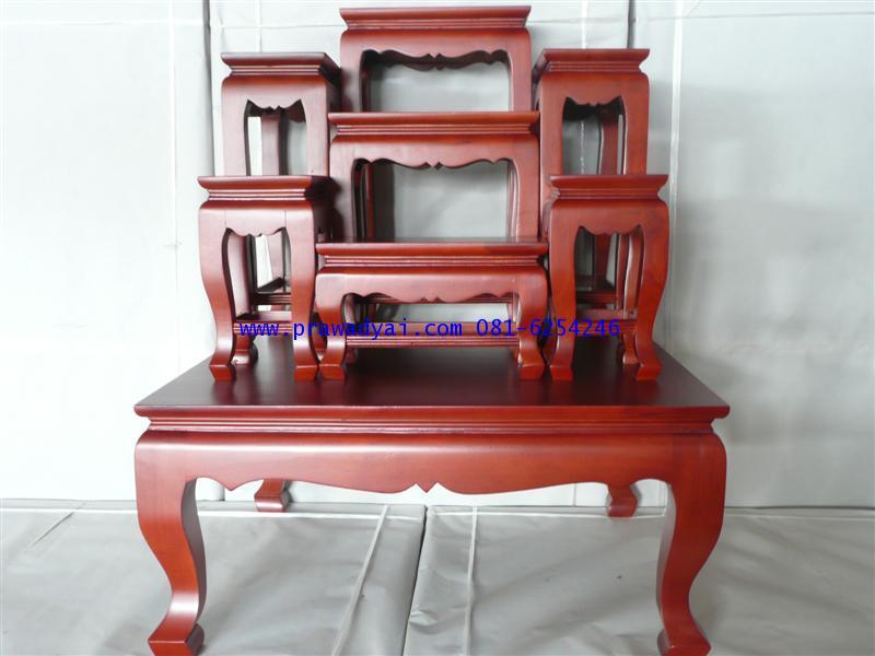 โต๊ะหมู่บูชา หมู่ 7 หน้า 6 ขาสิงห์ สีโอ๊ค (KT62K)