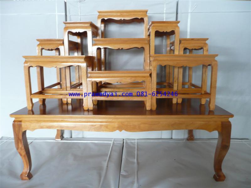 โต๊ะหมู่บูชา หมู่ 9 หน้า 6 ขาตรง สีเนื้อไม้ (KT46K)
