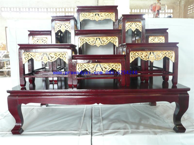 โต๊ะหมู่บูชา หมู่ 9 หน้า 8 ขาตรง กระจังทอง สีโอ๊ค (KT65K)