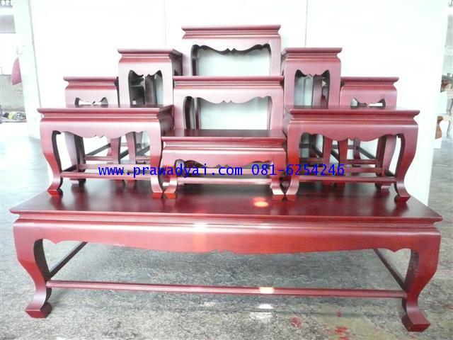โต๊ะหมู่บูชา หมู่ 9 หน้า 9 ขาสิงห์ สีโอ๊ค (KT80K)