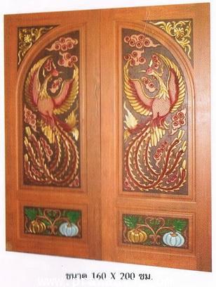 ประตูไม้สัก โค้งคู่หงส์มุมดอกไม้