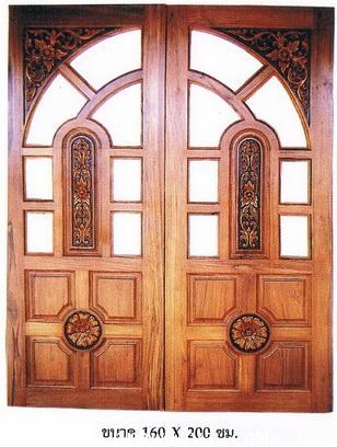 ประตูไม้สัก โค้งคู่ดอกไม้
