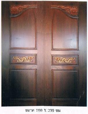 ประตูไม้สัก มังกรมุมดอกไม้